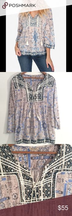 🍀LUCKY BRAND🍀PEASANT TUNIC TOP🍀Fits Size 10-12 Lucky Brand🍀Peasant Tunic Top. Linen rayon, Lucky Brand Tops