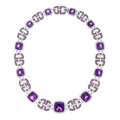 Asprey Jewelry Windsor Necklace with Diamonds, Amethyst, Pink Sapphire & White Gold featured in vente-privee.com
