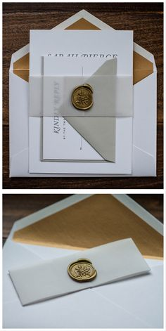 Vellum Wedding Invitation by Penn & Paperie with belly band and wax seal. Vellum Belly Band and Gold Wax Seal.