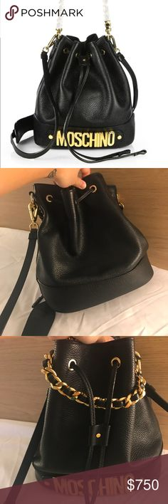 d54229461cdc Preowned Moschino Bucket Bag Black Gold