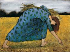 Another of my favorites - 'Ruth' by Brian Kershisnik. Ruth gleaning in the field is a famous story from the Old Testament. Lds Art, Bible Art, Brian Kershisnik, Biblical Art, Old Testament, Sacred Art, Christian Art, Religious Art, Figurative Art