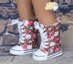 """Rose Flowers on Wine Red Lace-Up Knee High Top Sneakers Boots Doll Shoes for 18"""" American Girl dolls"""