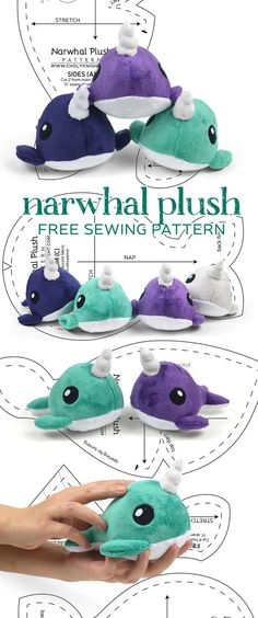 Free sewing pattern for palm-sized narwhal plush toy. Sewing Stuffed Animals, Stuffed Animal Patterns, Sewing Patterns Free, Free Sewing, Free Pattern, Felt Patterns Free, Knitting Patterns, Basic Sewing, Pattern Sewing