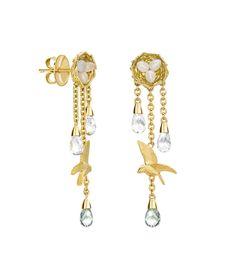 Theo Fennell - Chalcedony & Sapphire Birds Nest Earrings