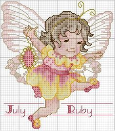 Toddler Birthstone Fairy July Ruby Cross Stitch Pattern 3/5