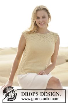 A cute summer top to match your skirt or jeans! Pattern is available for free online. #knitting #garnstudio