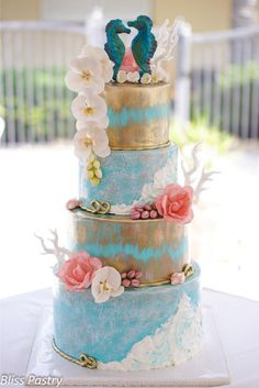 My Fave Tiered Ocean Themed Wedding Cake EVER - by Bliss Pastry on CakesDecor - http://cakesdecor.com/cakes/132435-oceanside-wedding-cake