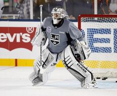 SAN JOSE, CA - FEBRUARY 20: Jonathan Quick #32 of the Los Angeles Kings warms-up during practice a day before the game against the San Jose Sharks during the Stadium Series Game on February 20, 2015 at Levis Stadium in Santa Clara, California. (Photo by Don Smith/NHLI via Getty Images)