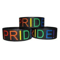Black Silicone Pride Bracelet - Gay & Lesbian LGBT Pride Wristlet with Rainbow Text