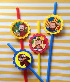 RESERVED FOR AMY: Curious George Birthday Party Straws