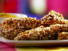 """Honey Mustard Pretzel-Coated Chicken Fingers Recipe via Hungry Girl - okay so maybe not """"healthy"""" as in like a spinach salad, but at least better than KFC! :-)"""