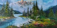 Portfolio Images, Impressionist Paintings, Large Painting, Tag Art, Rocky Mountains, Art Drawings, Places To Visit, My Arts