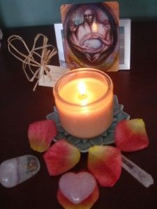 blog post on nature tables & altars. this one is a birth altar lit during a friend's labor.