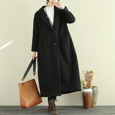 Casual Women Polo Collar Long Sleeve Wool Polyester Coat