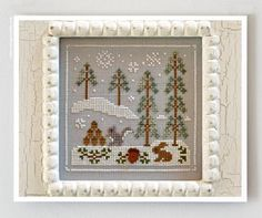 cross stitch patterns : Snowy Friends Frosty Forest Country Cottage Needleworks counted hand embroidery