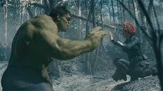 Black Widow lends her soothing touch to Bruce Banner aka The Hulk in 'Avengers: Age of Ultron.""
