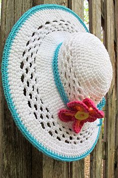 CROCHET PATTERN - Aloha - a wide brimmed sun hat with flower in 4 sizes (Child - Adult L) - Instant PDF Download on Etsy, $5.50