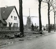 Infanteristen in stelling achter bomen op de Oudestraat in Gemert.