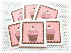 Cupcake Note Cards ~ 3x3 ~ Birthday ~ Thank you  ~ by HeartsCalling on ETSY