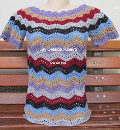 Celeida Artes em Fios: Blusa étnica em crochet