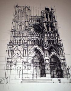 Architectural Drawing Ideas the Gothic Amiens Cathedral - France - Cathedral of Our Lady of Amiens (French: Cathédrale Notre-Dame d'Amiens) Architects:Robert of Luzarches, Thomas and Regnault de Cormont Art Sketches, Art Drawings, Sketches Arquitectura, Art Et Architecture, Cathedral Architecture, French Gothic Architecture, Ancient Architecture, Historical Architecture, Inspiration Art
