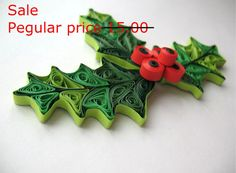 Sale, Quilled mistletoe christmas decoration, Holiday ornaments, paper quilling