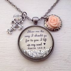 Bible verse necklace/Psalm necklace/personalized jewelry/Christian jewelry/scripture necklace/Christian gift/baptism gift/gift for her Ribbon Jewelry, Resin Jewelry, Jewelry Shop, Custom Jewelry, Jewelry Stores, Jewelry Accessories, Handmade Jewelry, Jewelry Making, Silver Jewelry