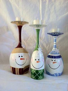 Wine Glass Snowmen Candle Stand Set of 3 von neatstuf auf Etsy
