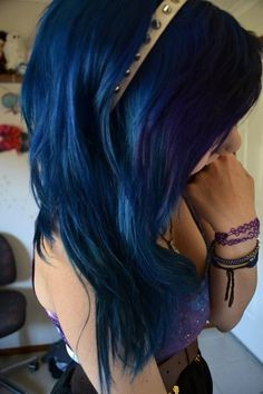 Hair Color | Dark Blue Hairstyle | Via: http://longhairstyleshowto.com/blue-purple-scene-hair/.. What I would do!!!
