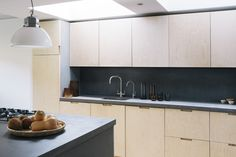 Birch plywood kitchen by Custom Fronts, London. Built on Ikea cabinets. Plywood Kitchen, Oak Plywood, Concrete Kitchen, Ply Wood, Ikea Cabinets, Kitchen Cabinets, Wardrobe Storage, Kitchen Doors, Beautiful Kitchens