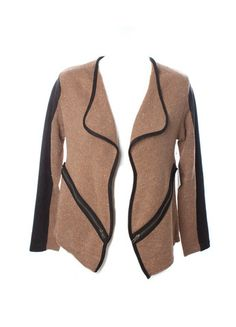 Missy Robertson by SFH Knit and Suede Jacket with Zipper Detail (Tan/B – DejaVu
