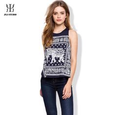 Vintage Retro Ethnic Sleeveless T Shirt Summer 2016 Women Print T-Shirts Short Navy Blue tshirt Femme Tops Fashion Days, Fashion Models, Girl Fashion, Womens Fashion, Waistcoat Designs, Blue Vests, Edgy Outfits, Pretty Outfits, Printed Tank Tops