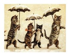 vintage postcard, date & illustrator unknown - cats in snow with umbrellas