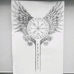 Tattoo design made for my cousin   #tattoo #tatts #tatouage #design #viking #valkyries #celtic #raven #crow #wolf #runes #blacandgrey #odin #drawing #draw #dessin #tattooofday #tattoooftheday #tattooist #tattoed #tattooboy #tattoogirl