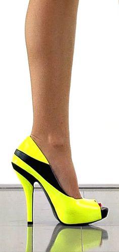 Black & Neon Yellow High Heel