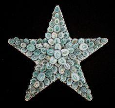 Seashell Art SAILORS VALENTINE Star Shell Mosaic - Green Limpets   eBay