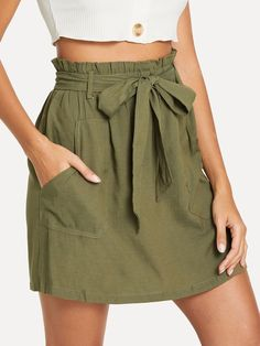 Shop Frill Self Tie Waist Utility Skirt online. SHEIN offers Frill Self Tie Waist Utility Skirt & more to fit your fashionable needs.To find out about the Frill Self Tie Waist Utility Skirt at SHEIN, part of our latest Skirts ready to shop online tod Tie Skirt, Dress Skirt, Waist Skirt, Blouse Dress, Denim Skirt, Looks Chic, Casual Skirts, Ladies Dress Design, Fashion News