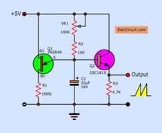 This is Sawtooth wave generator circuit using UJT transistors is easy. In the Figure 1 circuit used is UJT to connects with and They acts as a sawtooth wave generator circuit, by to charge and… Basic Electronic Circuits, Electronic Circuit Projects, Electronic Schematics, Electronic Engineering, Electrical Engineering, Chemical Engineering, Simple Electronics, Hobby Electronics, Electronics Projects