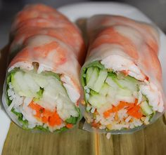 Vietnamese rice paper rolls.