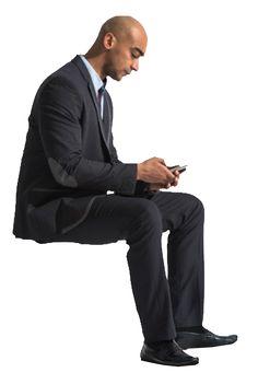 cutout man sitting phone