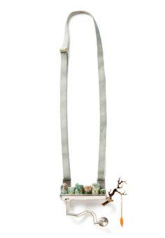 Annette Dam, Necklace, 2012_Silver, 18K gold, aquamarines, epoxy, plastic, elastic band