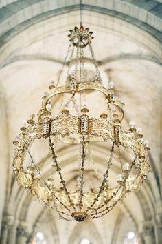 Church Decor / Chandelier / Courtney & Lisa's French Chateau Wedding on The LANE / Erika Gerdemark Photography
