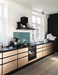Charlotte Minty Interior Design: Studio Ilse and The Apartment, Copenhagen kitchen Light Wood Cabinets, Light Wood Kitchens, Cool Kitchens, Modern Kitchens, Dark Cabinets, Apartment Kitchen, Kitchen Interior, Kitchen Decor, Kitchen Ideas