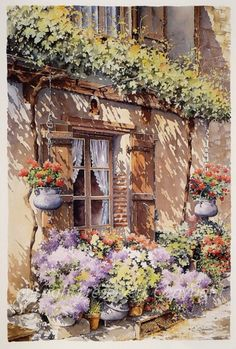 Watercolor and others by.: Watercolor by Christian Graniou/France Watercolor Landscape, Watercolour Painting, Painting & Drawing, Watercolors, Pinterest Arte, Watercolor Architecture, Watercolor Techniques, Beautiful Paintings, Painting Inspiration