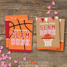 Basketball Valentine's Day Card Printable Kids by PaperFoxDesign
