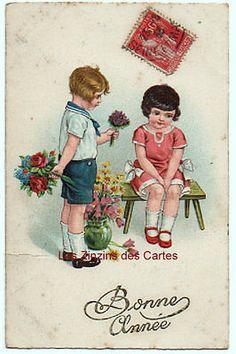 Carte-postale-ancienne-illustrateur-Enfants-Banc-Fleurs-1934