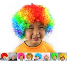 [Visit to Buy] Carnival Party Wigs for Masquerade Halloween Christmas Dress Clown Costume Cosplay Football Fans Children Adult Party Hats #Advertisement