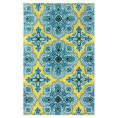 Wool rug with a medallion motif.  Product: RugConstruction Material: 100% WoolColor: Gold and blue
