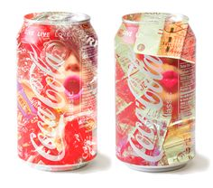 Consumerism Coke cans - double exposure