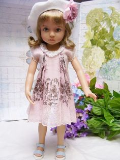 """Effner 13"""" Little Darling """"Victorian Romance""""  Hanky Dress and Embroidered Hat"""